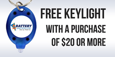 Free keychain light with the purchase of $20 or more